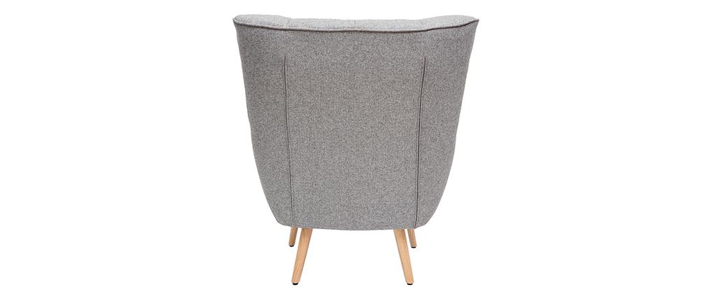 Sillón nórdico en tejido gris claro y madera AVERY