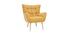 Sillón nórdico en terciopelo amarillo mostaza y madera AVERY