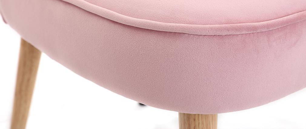 Sillón nórdico en terciopelo rosa SAYU