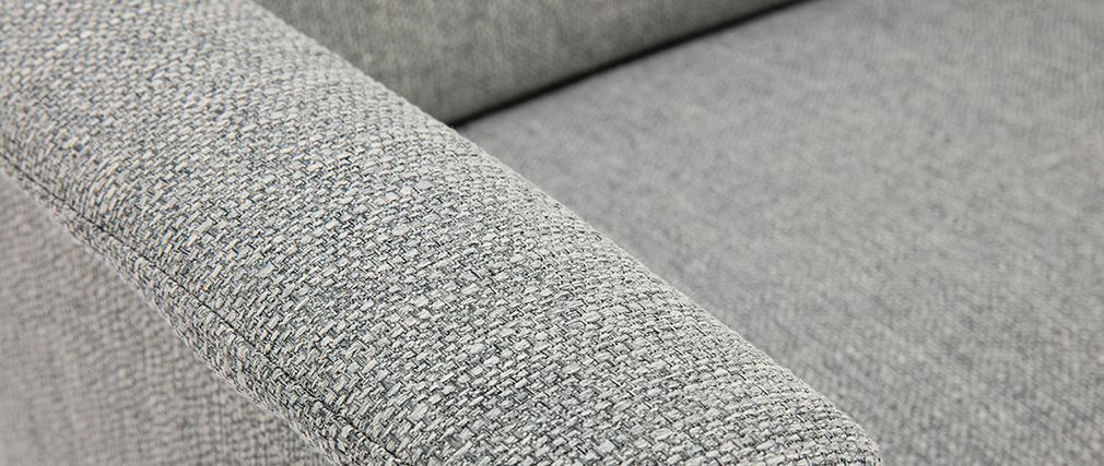 Sillón nórdico gris claro y madera AEOLA