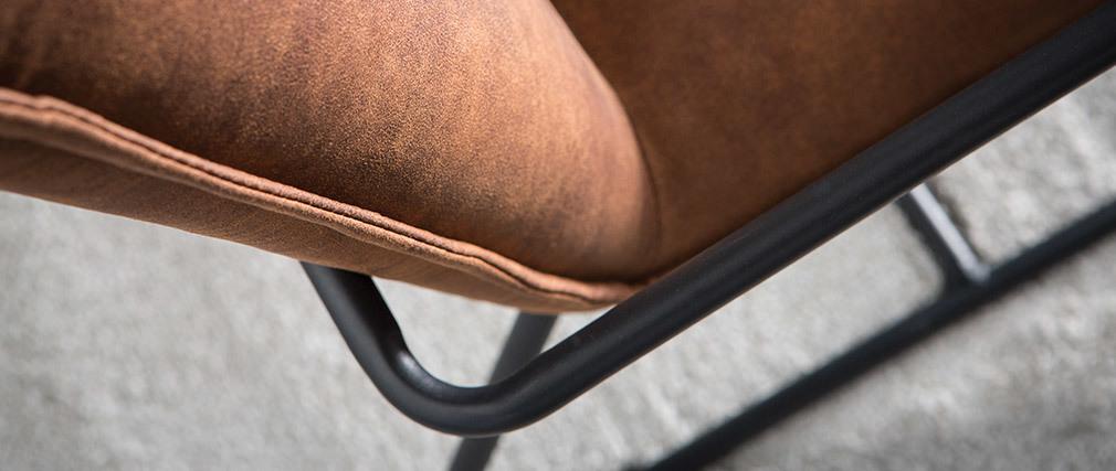 Sillón polipiel marrón y estructura metal negra MERCY