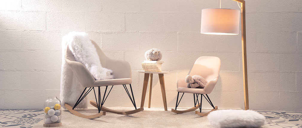 Sillón relax - Baby mecedora tejido beige  patas metal y fresno JHENE