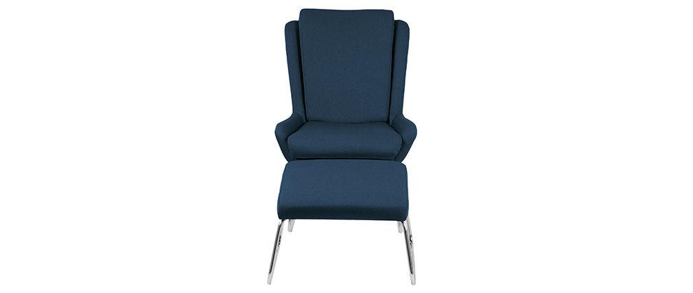 Sillón relax diseño con reposapiés azul HARPER