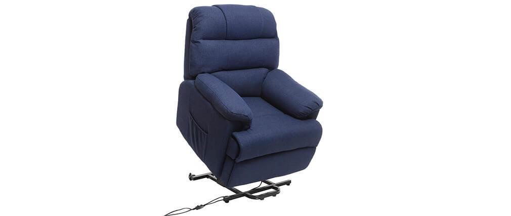 Sillón Relax eléctrico elevador tejido azul oscuro PHOEBE