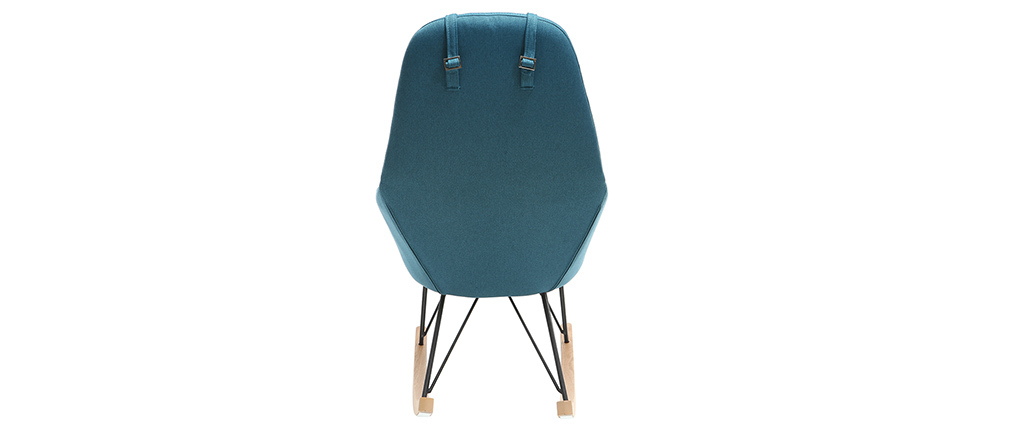 Sillón relax - Mecedora tejido azul petróleo patas metal y fresno JHENE