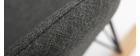 Sillón relax - Mecedora tejido gris antracita patas metal y fresno JHENE