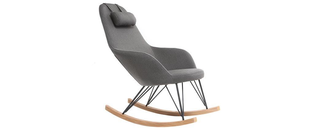 Sillón relax - Mecedora tejido gris patas metal y fresno JHENE