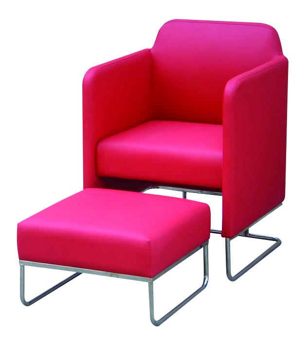 Sill�n rojo moderno NOLAN y sus reposa-pi�s compaginados