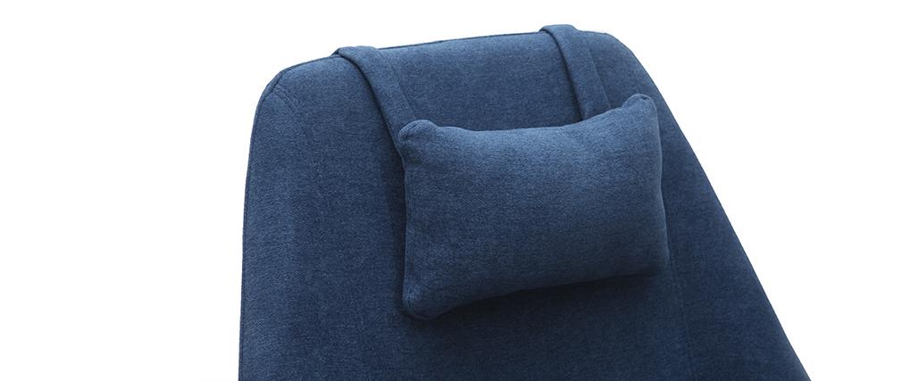 Sillón rotativo en tejido azul y pata metal AMADEO