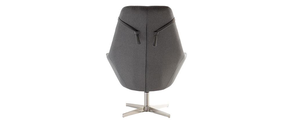 Sillón rotativo en tejido gris oscuro y pata metal AMADEO