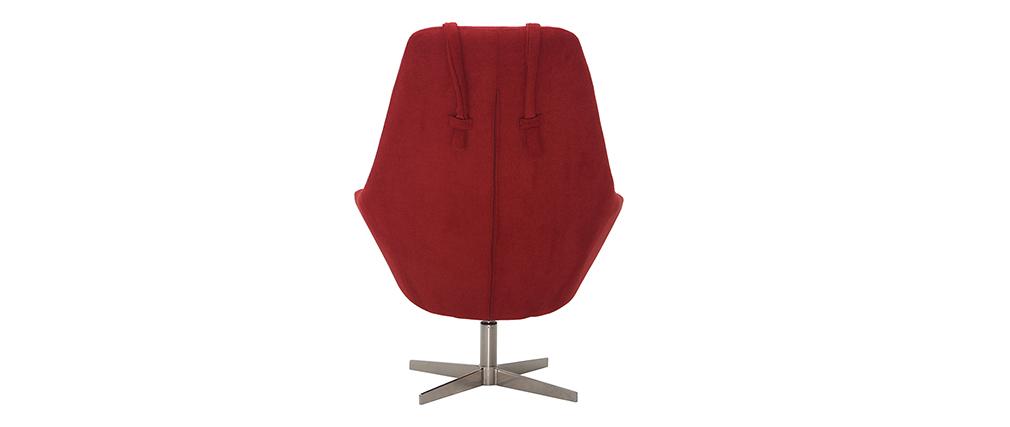 Sillón rotativo en tejido rojo y pata metal AMADEO