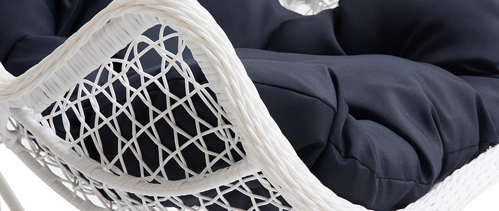 Sillón suspendido pata metal blanco y tejido azul oscuro BALI