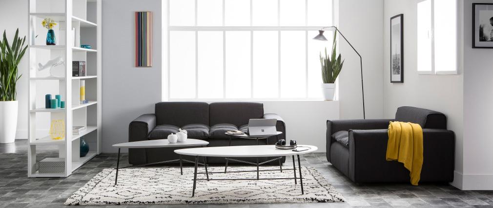Sillón tejido moderno gris oscuro MELLOW