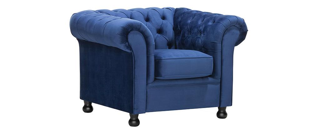 Sillón terciopelo azul oscuro CHESTERFIELD