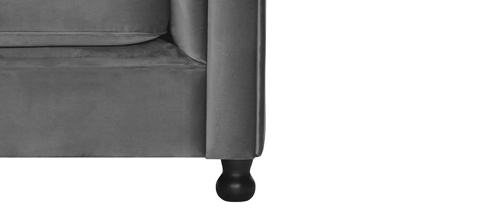 Sillón terciopelo gris oscuro CHESTERFIELD