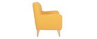 Sillón vintage amarillo patas en madera MARKUS