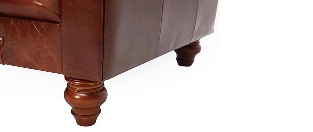 Sillón vintage cuero marrón CHESTERFIELD