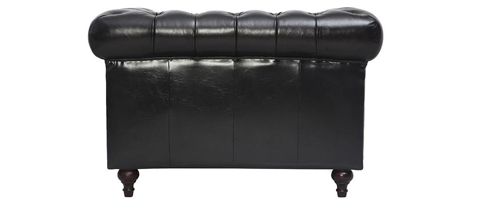 Sillón vintage cuero negro CHESTERFIELD