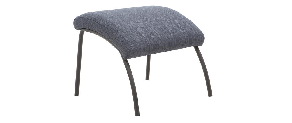 Sillón y reposapiés contemporáneo tejido azul vaquero ULYSSE