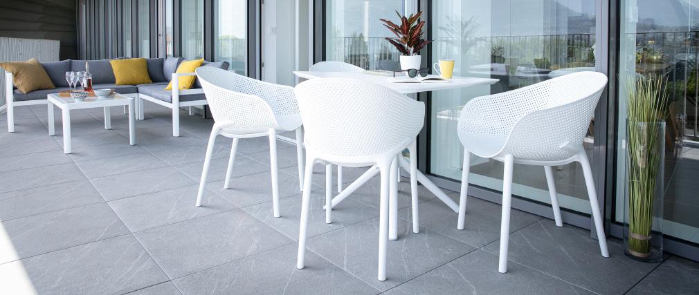 Sillones modernos blancos apilables interior / exterior (lote de 4) OSKOL
