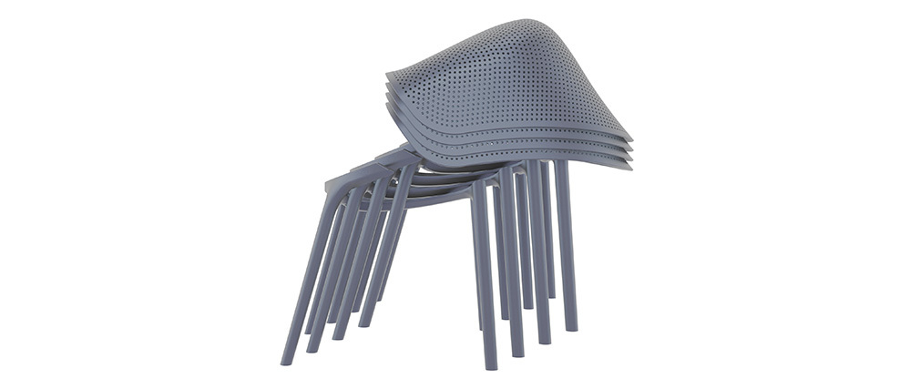 Sillones modernos grises apilables interior / exterior (lote de 4) OSKOL