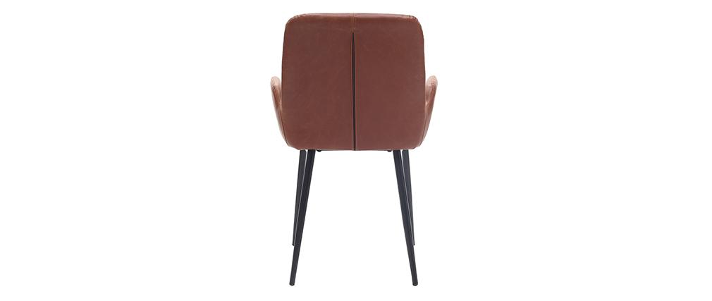 Sillones vintage marrón claro con patas metal negro (lote de 2) TIKA