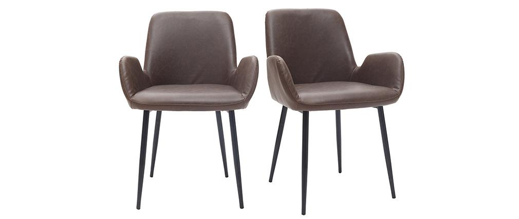 Sillones vintage marrón oscuro con patas metal negro (lote de 2) TIKA