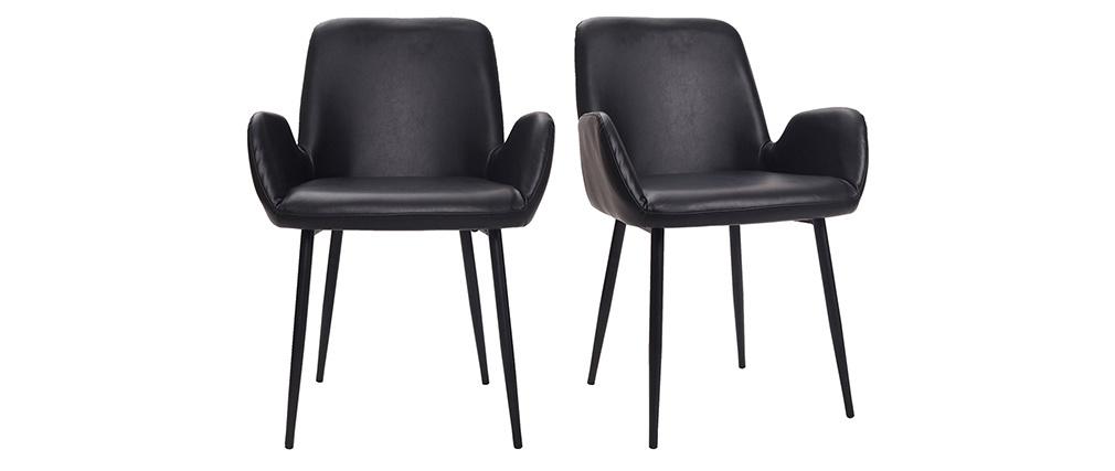 Sillones vintage negros con patas metal negro (lote de 2) TIKA