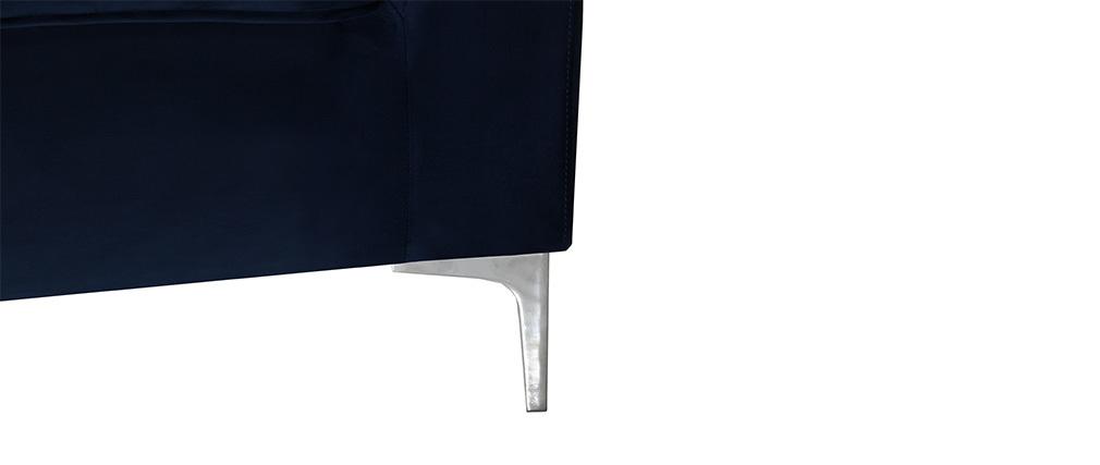 Sofá 2 plazas moderno terciopelo azul oscuro HARRY
