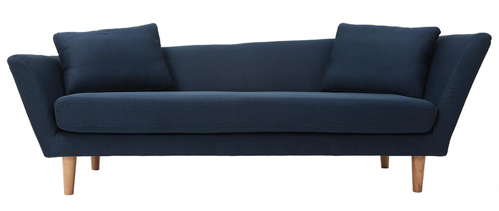 Sofá 3 plazas azul patas madera roble NARA