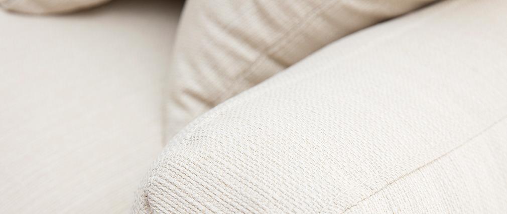 Sofá 3 plazas blanco crema patas madera KYO
