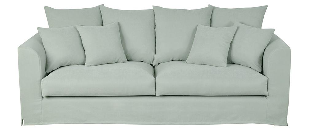 Sofá 3 plazas desenfundable en tejido verde pastel FEVER