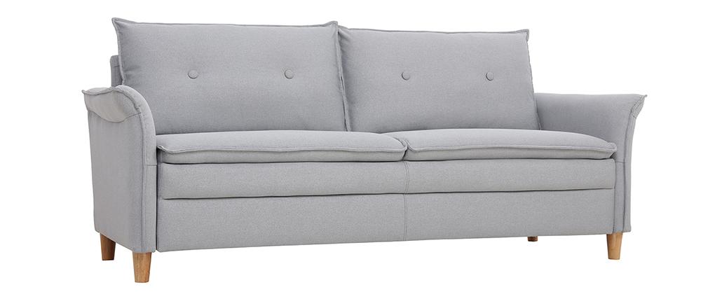 Sofá 3 plazas en tejido gris claro CLIFF