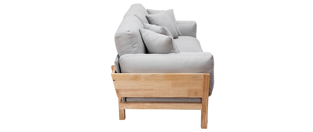 Sofá 3 plazas gris claro patas madera KYO