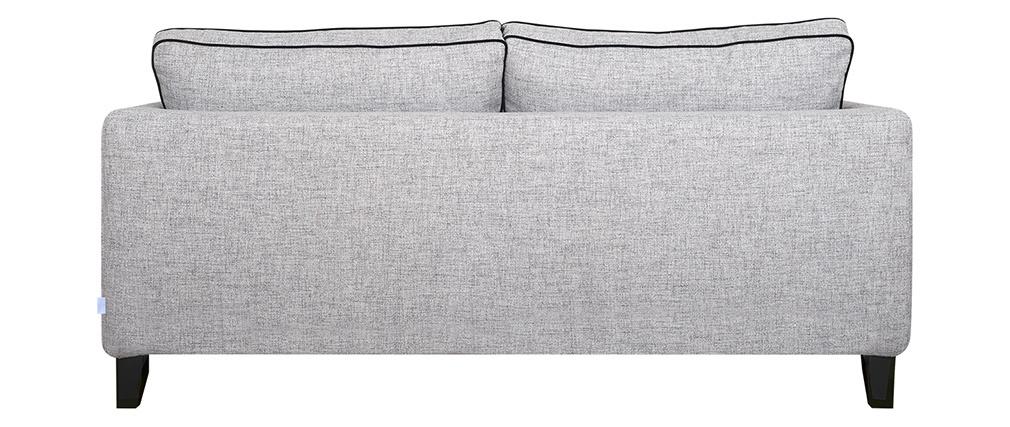 Sofá 3 plazas gris y terciopelo negro HARRISON