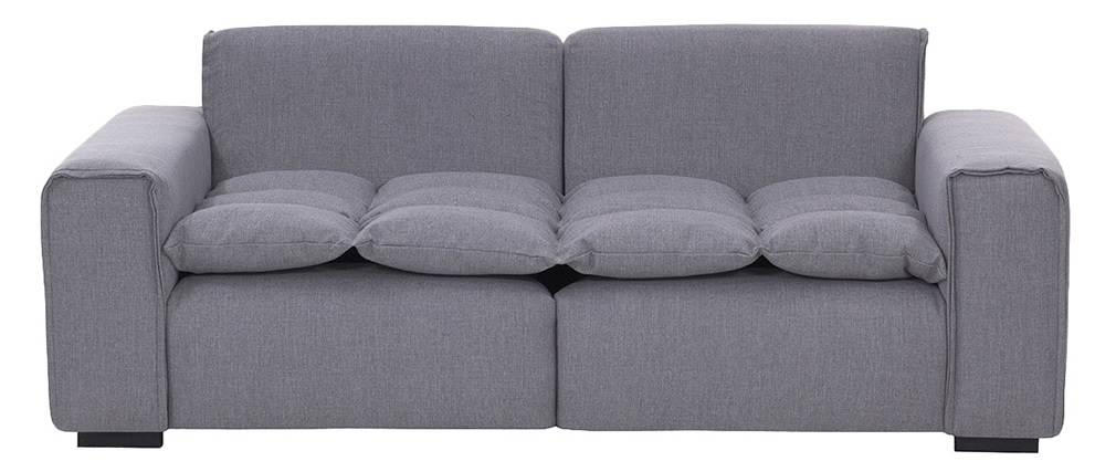 Sofá 3 plazas moderno tejido gris claro MELLOW