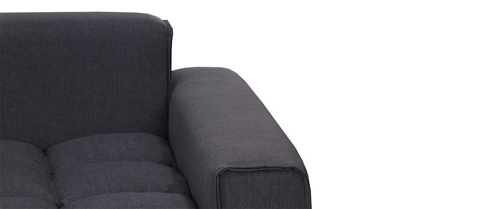 Sofá 3 plazas moderno tejido gris oscuro MELLOW