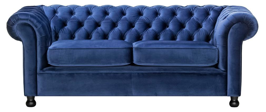 Sofá 3 plazas terciopelo azul oscuro CHESTERFIELD