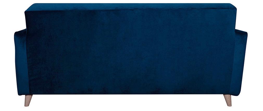 Sofá 3 plazas terciopelo azul oscuro CIGALE
