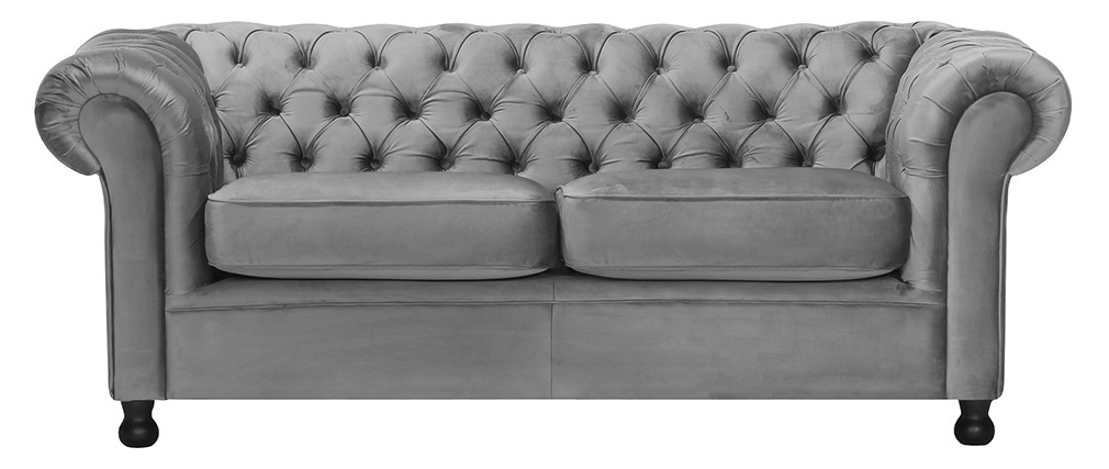 Sofá 3 plazas terciopelo gris oscuro CHESTERFIELD