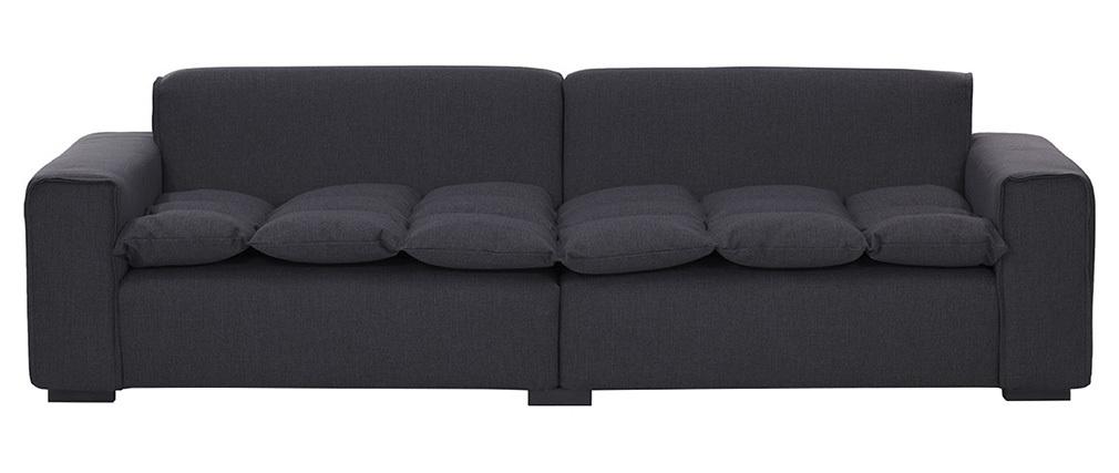 Sofá 4 plazas moderno tejido gris oscuro MELLOW