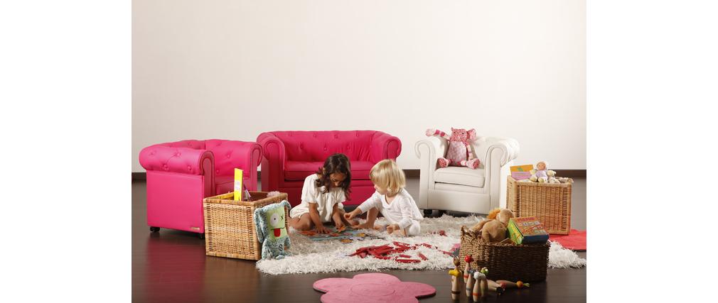 Sofá BABY CHESTERFIELD  2 plazas de color rosa