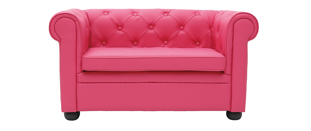 Sofá BABY CHESTERFIELD  2 plazas de color rosa