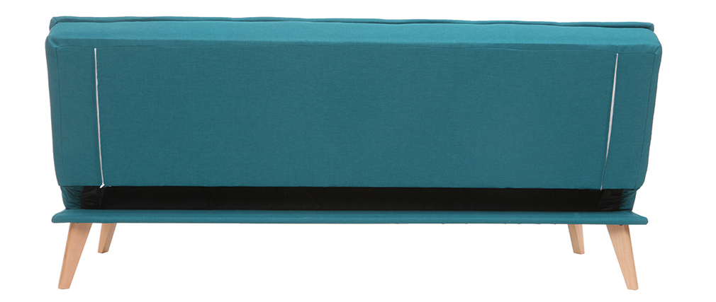 Sofá cama 3 plazas en tejido azul petróleo y madera SHANTI