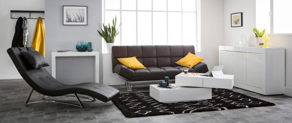 Sofá-cama 3 plazas MANHATTAN color blanco roto y de cuero