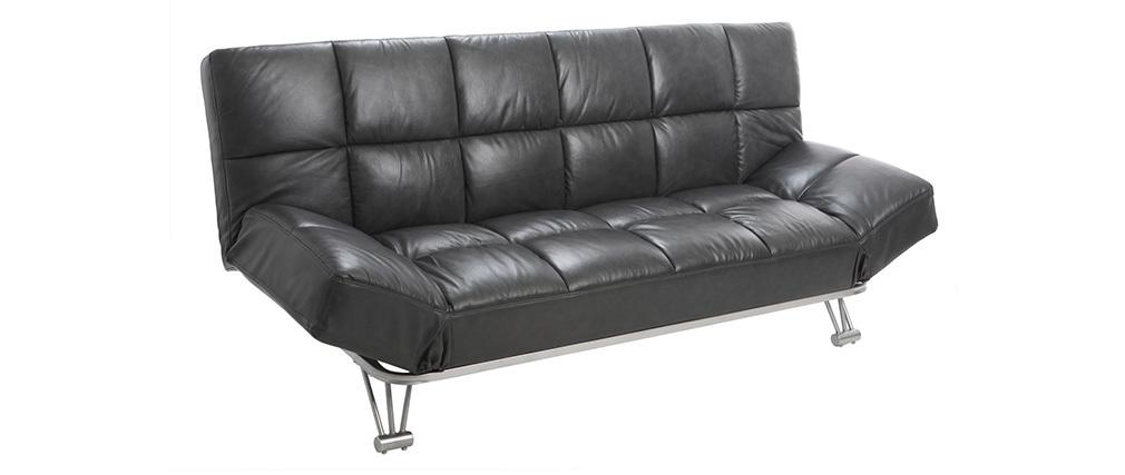 Sofá cama diseño en cuero de vaca gris MANHATTAN
