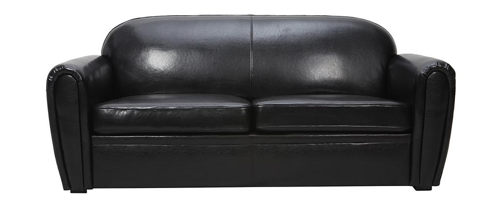 Sofá Club convertible cuero negro 3 plazas - cuero de vaca