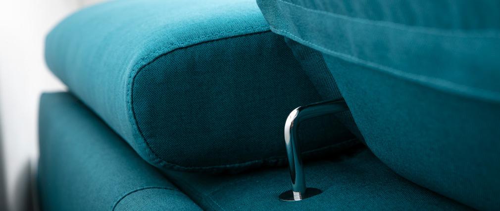 Sofá convertible 3 plazas con reposacabezas ajustables azul petróleo NORO