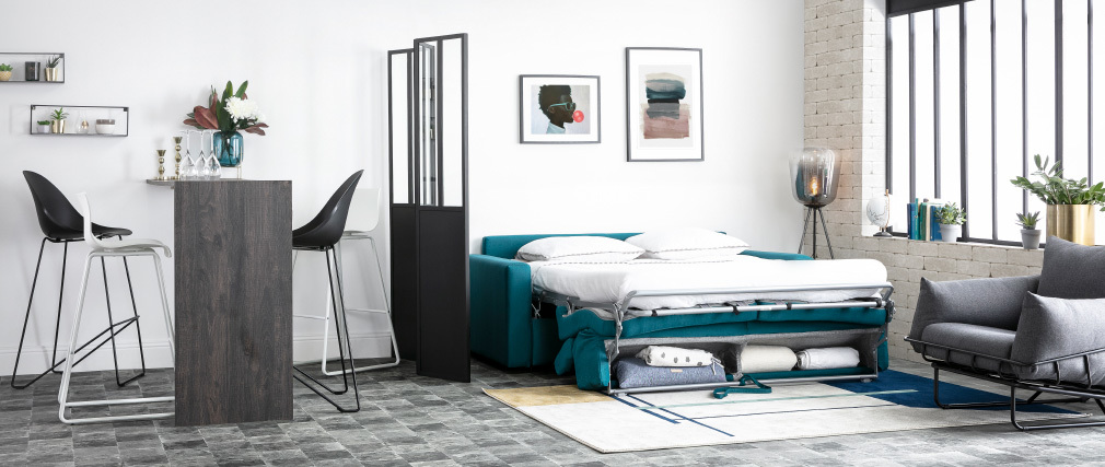 Sofá convertible 3 plazas con reposacabezas ajustables gris claro NORO