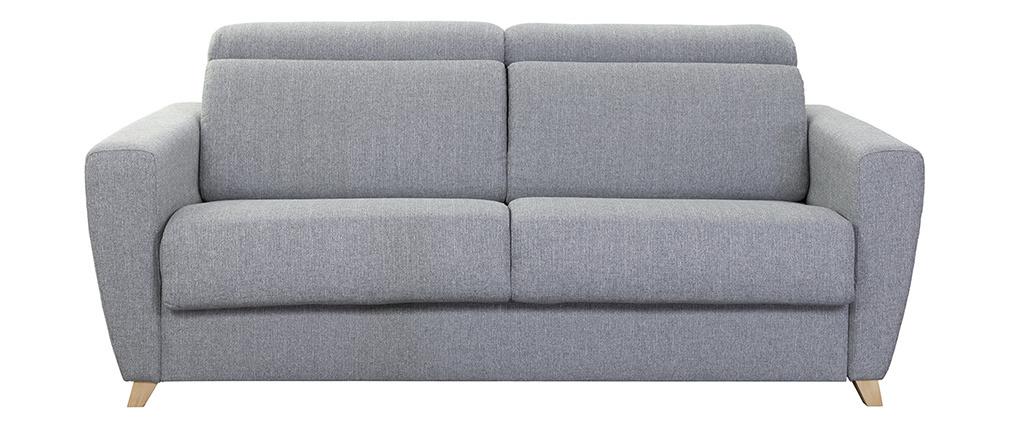 Sofá convertible 3 plazas con reposacabezas ajustables gris GOYA